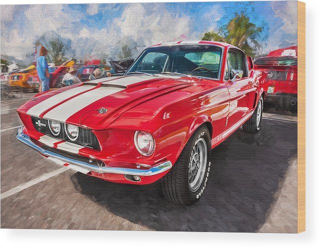 1967 Ford Shelby Gt500 Wood Print featuring the photograph 1967 Ford Shelby Mustang Gt500 Painted by Rich Franco