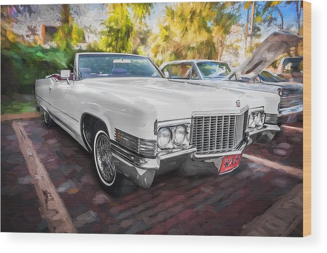 1970 Cadillac Wood Print featuring the photograph 1970 Cadillac Coupe Deville Convertible Painted by Rich Franco