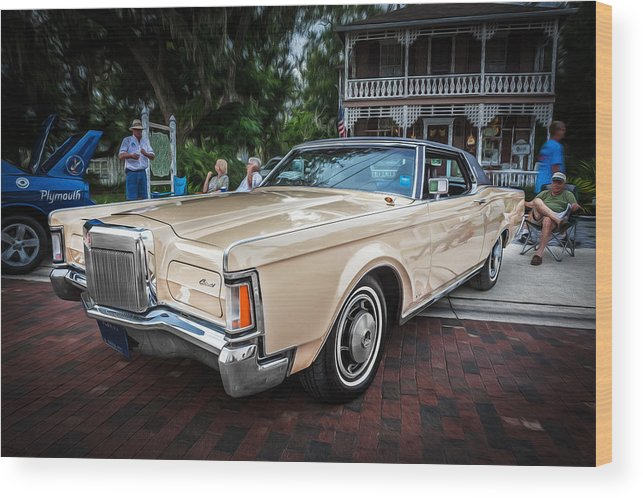 1971 Lincoln Wood Print featuring the photograph 1971 Lincoln Continental Mark IIi Painted by Rich Franco