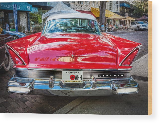 Lincoln Wood Print featuring the photograph 1957 Lincoln Premiere Coupe Painted by Rich Franco