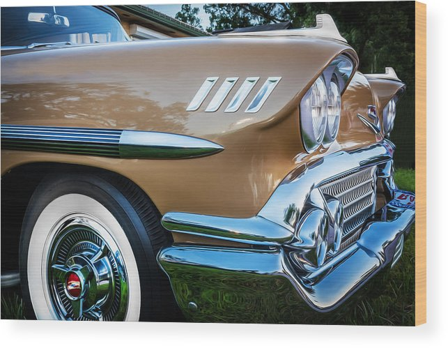 1958 Chevrolet Wood Print featuring the photograph 1958 Chevrolet Bel Air Impala Painted by Rich Franco