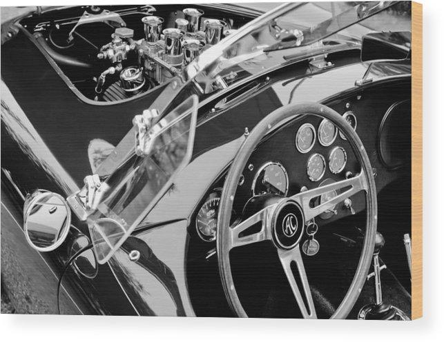 Ac Shelby Cobra Engine - Steering Wheel Wood Print featuring the photograph Ac Shelby Cobra Engine - Steering Wheel by Jill Reger