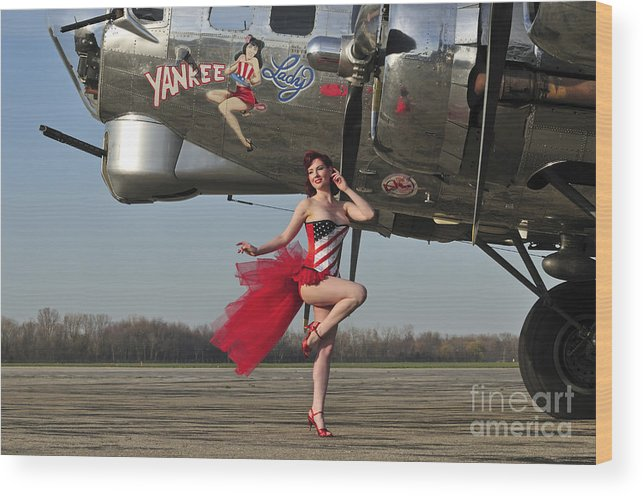 Bomber Wood Print featuring the photograph Beautiful 1940s Style Pin-up Girl by Christian Kieffer