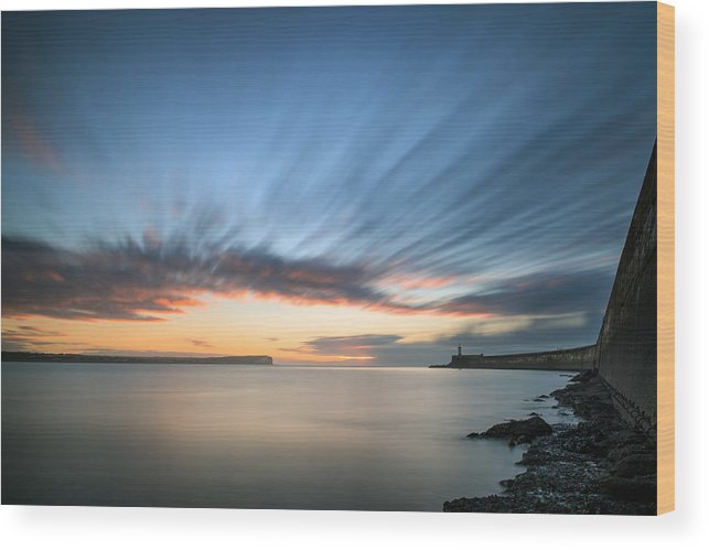 Landscape Wood Print featuring the photograph Beautiful Vibrant Sunrise Sky Over Calm Water Ocean With Lightho by Matthew Gibson