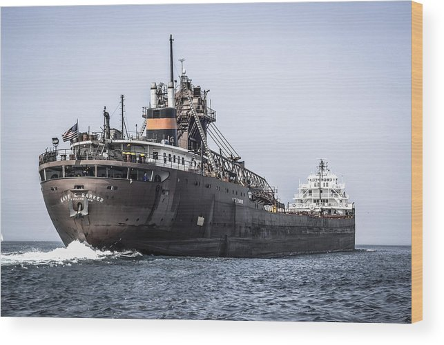 Cargo Wood Print featuring the photograph Bulk Freighter by Chris Smith
