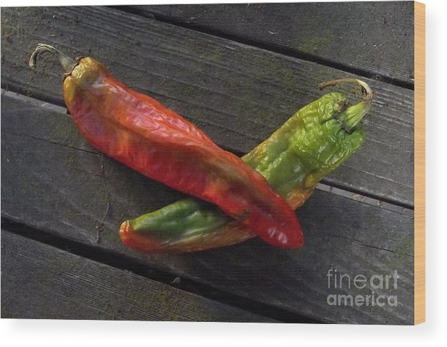 Chilies Wood Print featuring the photograph 2 Chilies by Charles Majewski
