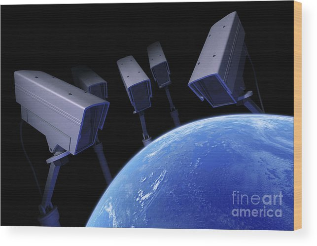 Cctv Wood Print featuring the photograph Earth Under Surveillance by Science Picture Co