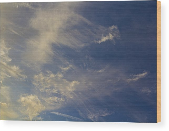 Swirling Clouds Wood Print featuring the photograph Evening Sky by David Pyatt