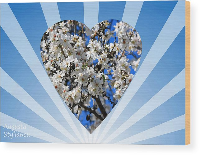 Augusta Stylianou Wood Print featuring the digital art Floral Heart by Augusta Stylianou