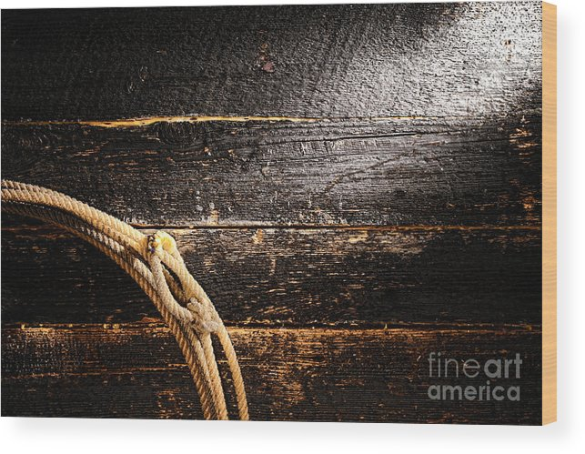 Cowboy Wood Print featuring the photograph Grunge Lasso by Olivier Le Queinec