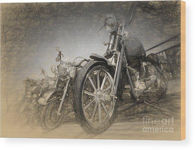 Harley Wood Print featuring the digital art Harley Davidsons by Perry Van Munster