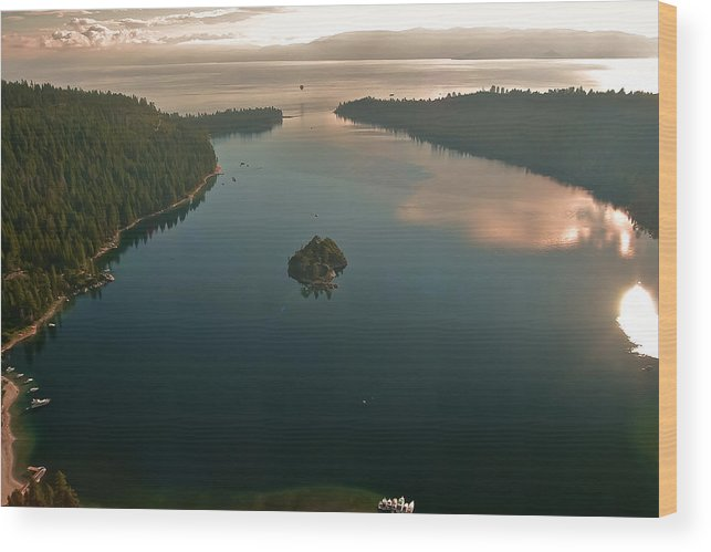 Aerial Wood Print featuring the photograph Lake Tahoe Aerial by Steven Lapkin