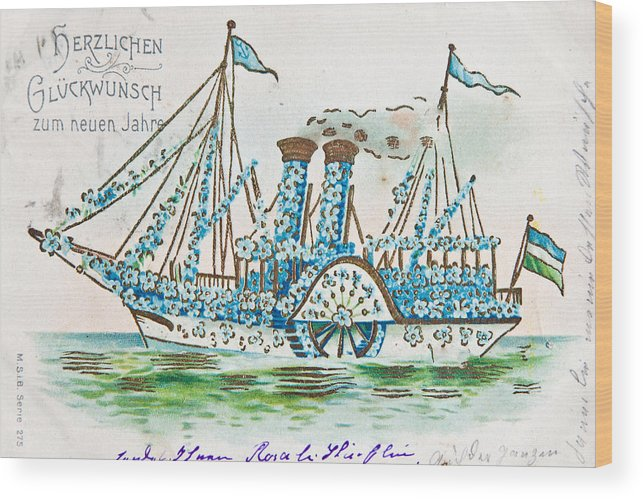 1900 Wood Print featuring the photograph Old French And German Postcards From The Begining Of The 1900 by Jean Schweitzer