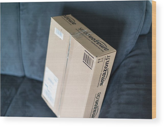 Package Wood Print featuring the photograph Parcel Waiting At Home by Frank Gaertner