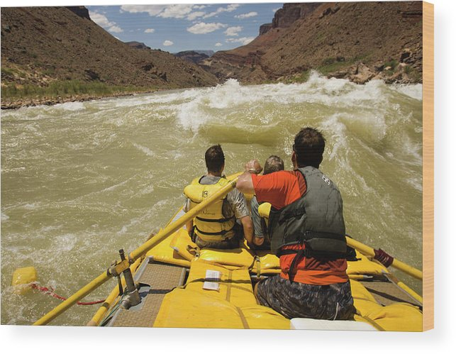 Action Wood Print featuring the photograph Passenger View Of People Rafting by Corey Rich