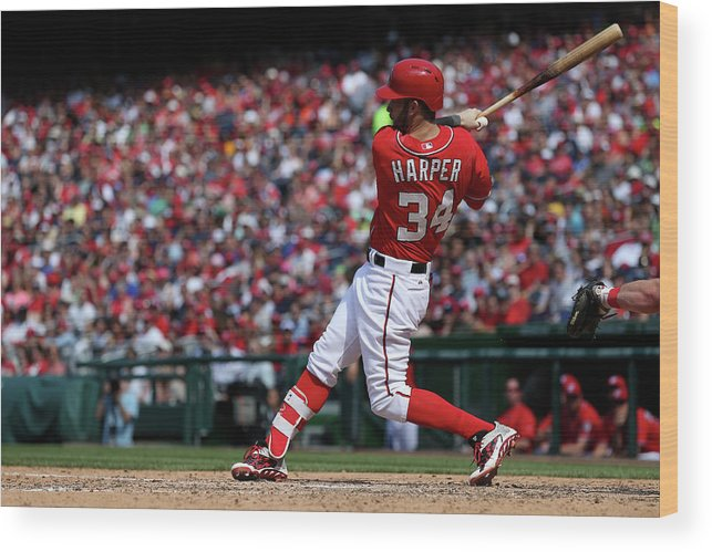 People Wood Print featuring the photograph Philadelphia Phillies V Washington 2 by Patrick Smith