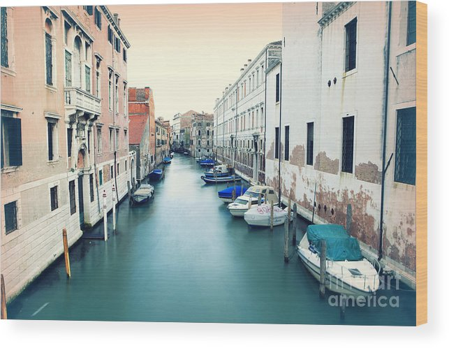 Venice Wood Print featuring the photograph Secluded Canal In Venice by Ernst Cerjak