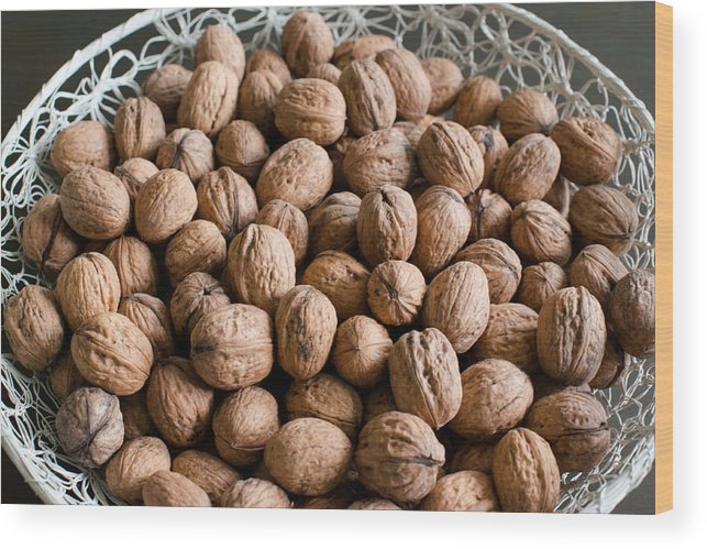 Walnut Wood Print featuring the photograph Walnuts In A Basket by Frank Gaertner