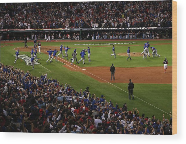 American League Baseball Wood Print featuring the photograph World Series - Chicago Cubs V Cleveland 2 by Ezra Shaw
