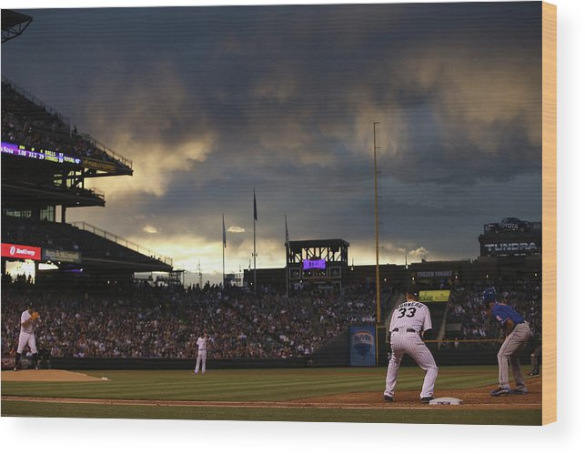National League Baseball Wood Print featuring the photograph New York Mets V Colorado Rockies 21 by Doug Pensinger