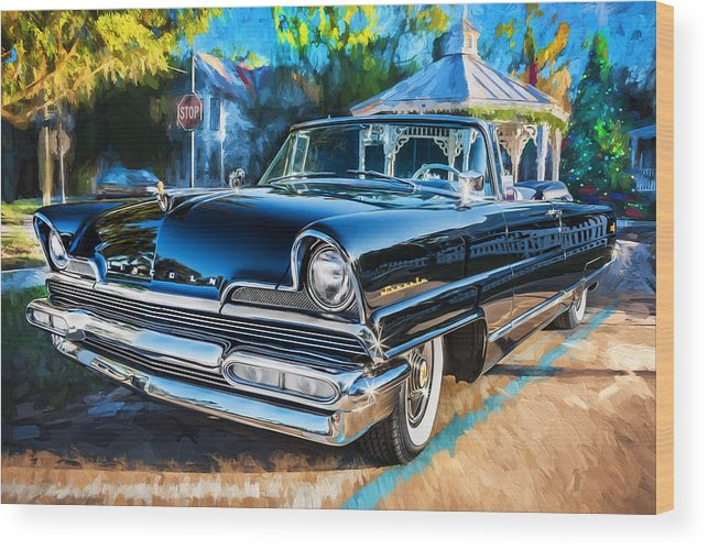Lincoln Wood Print featuring the photograph 1956 Lincoln Premiere Convertible Painted by Rich Franco