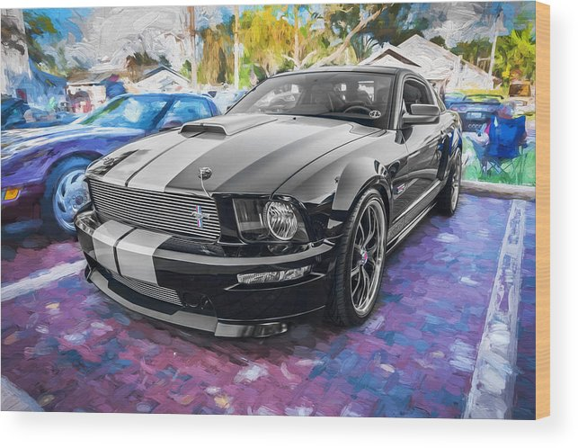 2007 Mustang Wood Print featuring the photograph 2007 Ford Mustang Shelby Gt Painted by Rich Franco