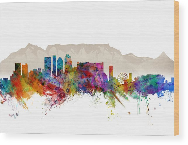 City Wood Print featuring the digital art Cape Town South Africa Skyline by Michael Tompsett