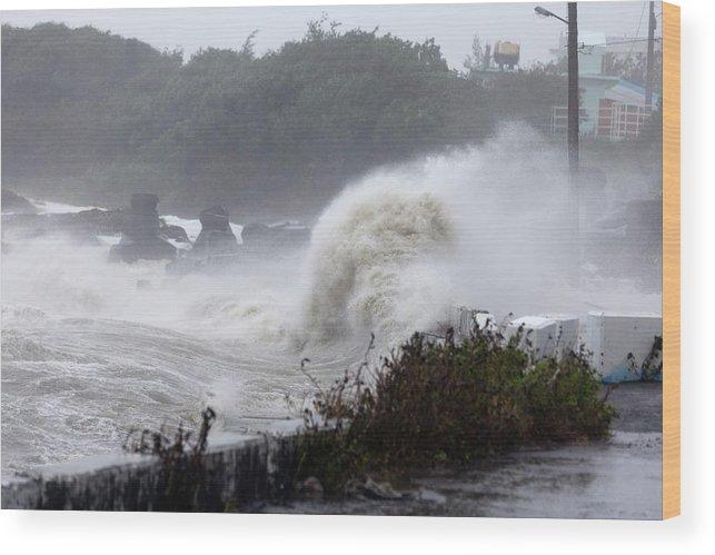 Typhoon Usagi Wood Print featuring the photograph Coastal Wave During Typhoon Usagi by Jim Edds