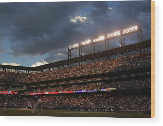 National League Baseball Wood Print featuring the photograph Milwaukee Brewers V Colorado Rockies by Doug Pensinger