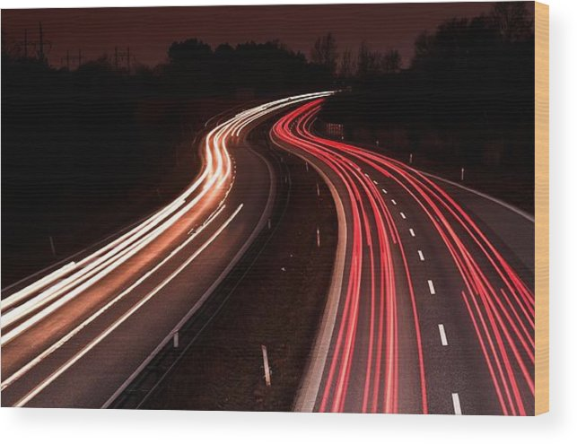 Highways Wood Print featuring the photograph Night Traffic by Jean Schweitzer