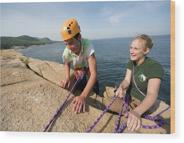 Acadia National Park Wood Print featuring the photograph Rock Climbing On Oceanside Cliffs by Jose Azel
