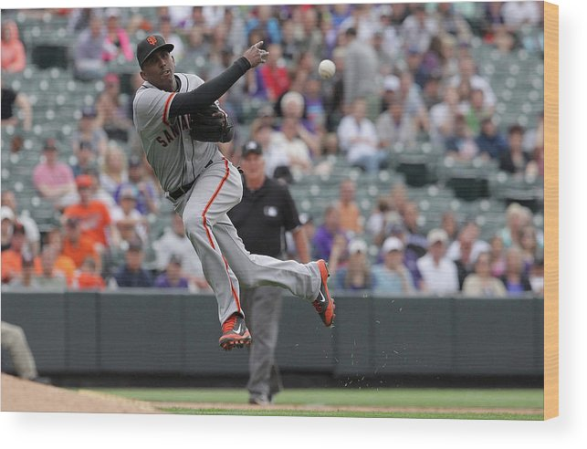 Ninth Inning Wood Print featuring the photograph San Francisco Giants V Colorado Rockies by Doug Pensinger