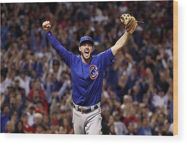 Three Quarter Length Wood Print featuring the photograph World Series - Chicago Cubs V Cleveland by Ezra Shaw