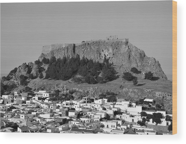 Rhodes Wood Print featuring the photograph Acropolis And Village Of Lindos by George Atsametakis