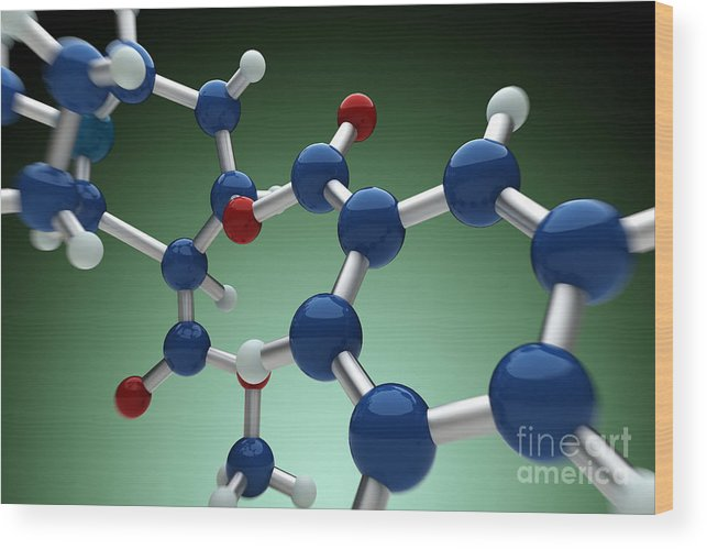 Biomedical Illustration Wood Print featuring the photograph Cocaine Molecule by Science Picture Co