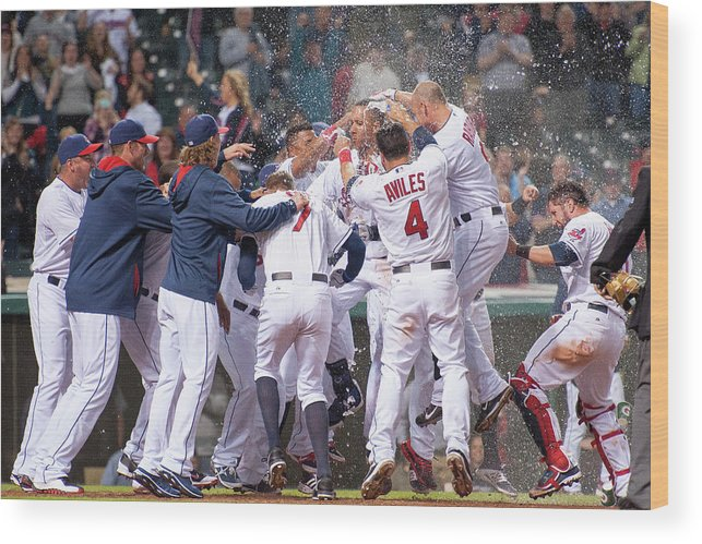 American League Baseball Wood Print featuring the photograph Detroit Tigers V Cleveland Indians 4 by Jason Miller