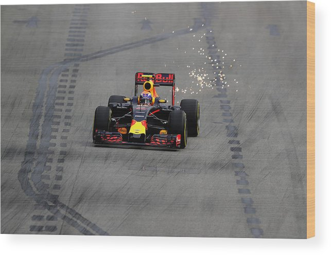 Formula One Grand Prix Wood Print featuring the photograph F1 Grand Prix Of Singapore - Qualifying 4 by Clive Mason