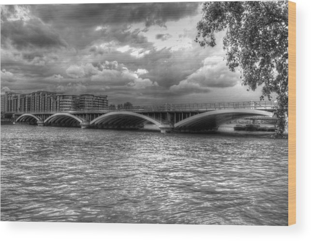 London Wood Print featuring the photograph London Thames Bridges Bw by David French