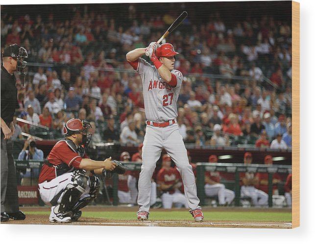 People Wood Print featuring the photograph Los Angeles Angels Of Anaheim V Arizona 4 by Christian Petersen