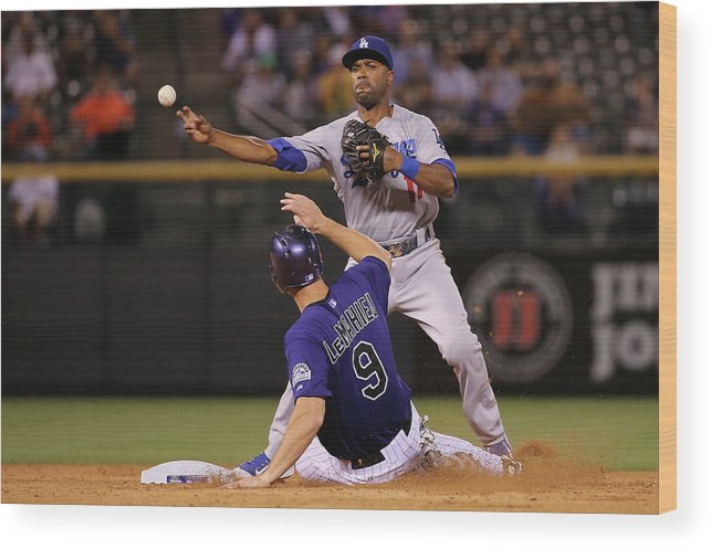 American League Baseball Wood Print featuring the photograph Los Angeles Dodgers V Colorado Rockies by Doug Pensinger