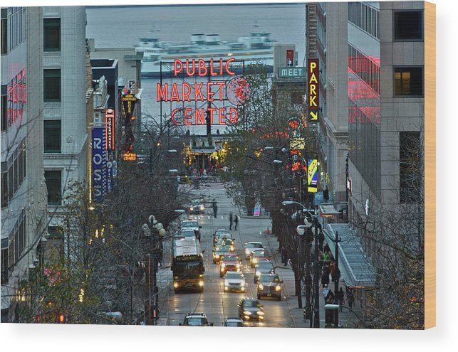 Pike Place Market In The Evening Light Wood Print featuring the photograph Public Market Center In Seattle by Hisao Mogi