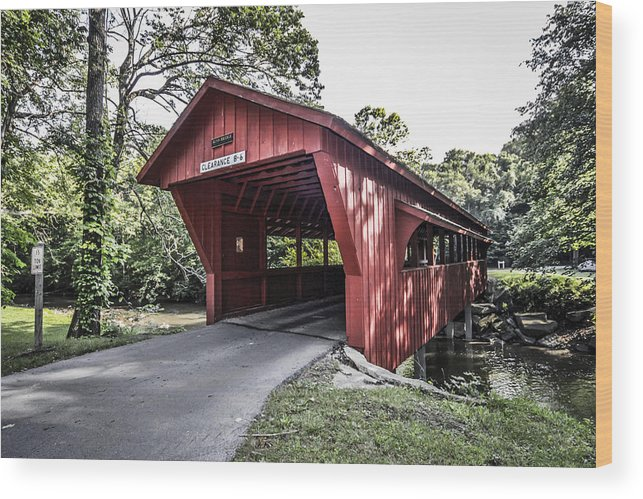 Red Wood Print featuring the photograph Shelby Covered Bridge by Chris Smith