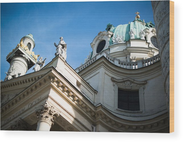 St. Charles Wood Print featuring the photograph St. Charles Church - Karlskirche - In Vienna by Frank Gaertner