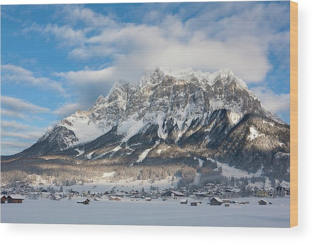 Alps Wood Print featuring the photograph Wetterstein Mountain Chain With Mt by Martin Zwick