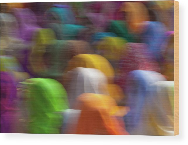 Asia Wood Print featuring the photograph Women In Colorful Saris Gather by Keren Su