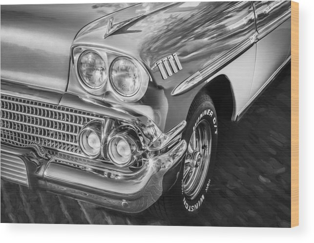 1958 Chevrolet Wood Print featuring the photograph 1958 Chevrolet Bel Air Impala Painted Bw by Rich Franco