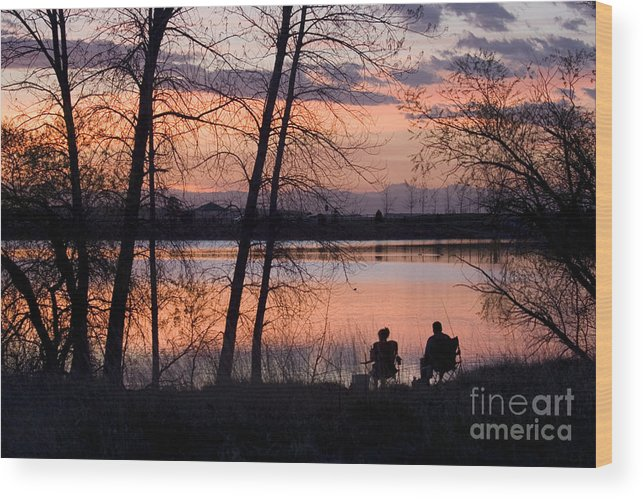 Colorado Wood Print featuring the photograph Fly Fishing At Sunset by Steve Krull