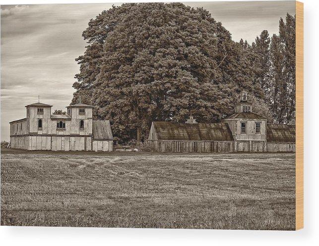 Barn Wood Print featuring the photograph 5 Star Barns Monochrome by Steve Harrington