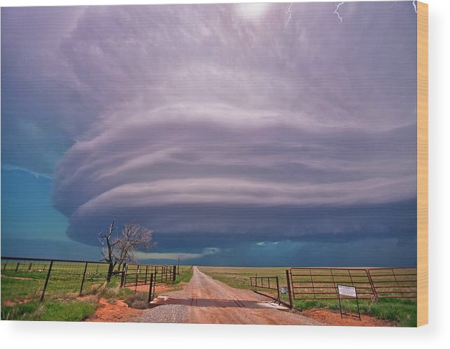 Cloud Wood Print featuring the photograph Supercell Thunderstorm by Roger Hill