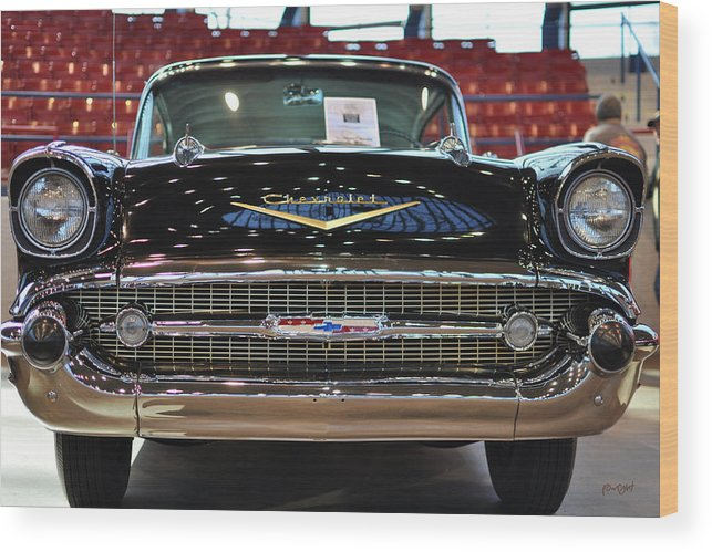 Wright Wood Print featuring the photograph '57 Chevy Bel Air Show Car by Paulette B Wright